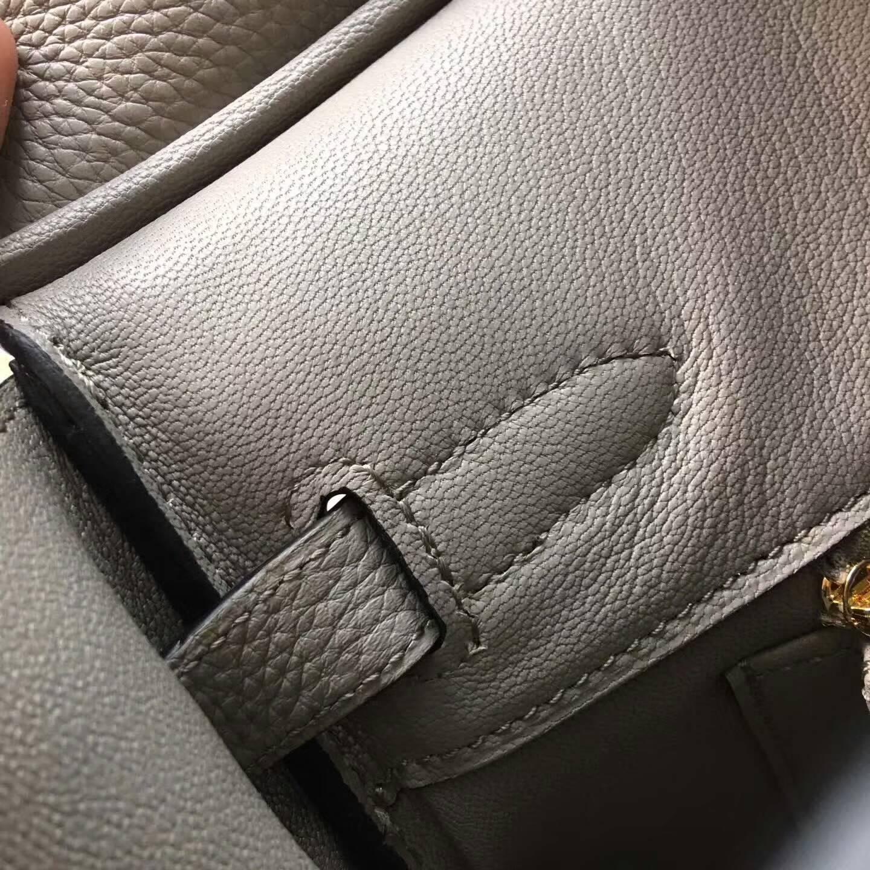 爱马仕铂金包 Birkim 30cm Clemence 法国原产Tc皮 1F Argile 钻石灰 金扣