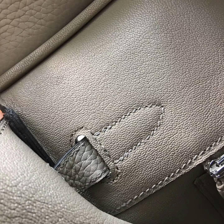 Hermes爱马仕铂金包 Birkin 30cm Clemence 法国原产Tc皮 1F Argile 钻石灰 银扣