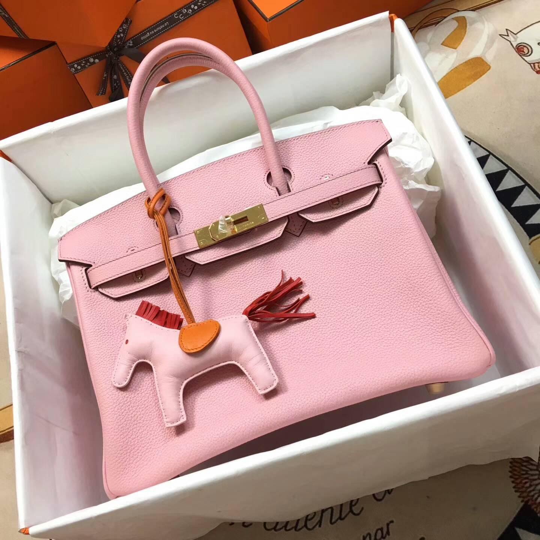 爱马仕铂金包 Birkim 30cm Clemence 法国原产Tc皮 3Q Rose Sakura 芭比粉 金扣