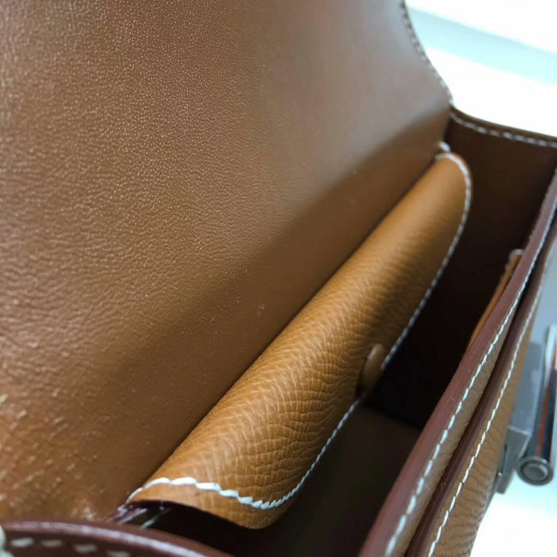 Hermes插销包手枪包 Verrou 17cm Epsom 法国原产掌纹皮 37 Gold 金棕