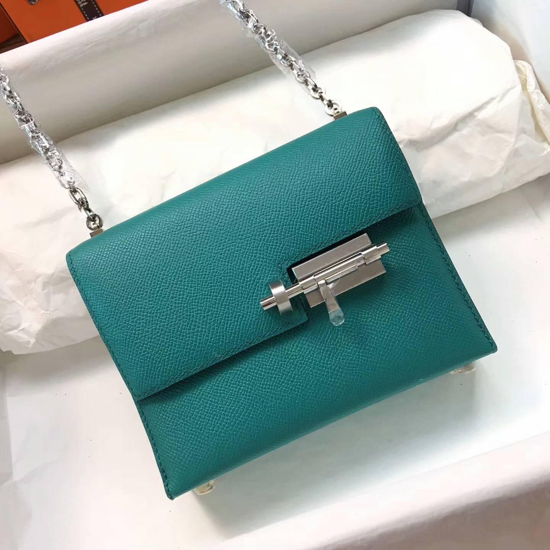 Hermes插销包手枪包 Verrou 17cm Epsom 法国原产掌纹皮 7F Blue Paon 孔雀蓝