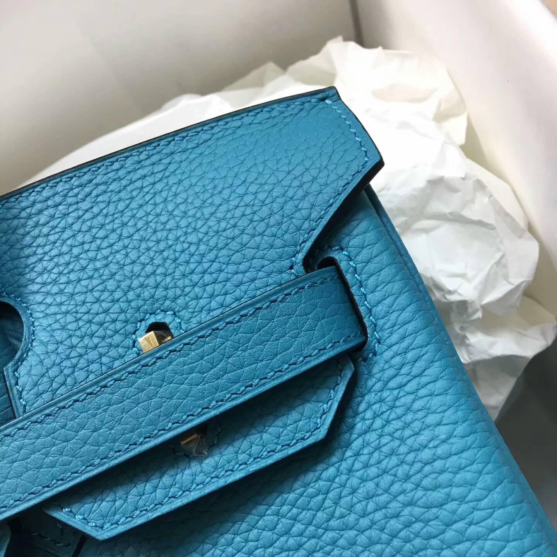 爱马仕铂金包 Birkim 30cm Clemence 法国原产Tc皮 7B Tuequoise 松石蓝 金扣