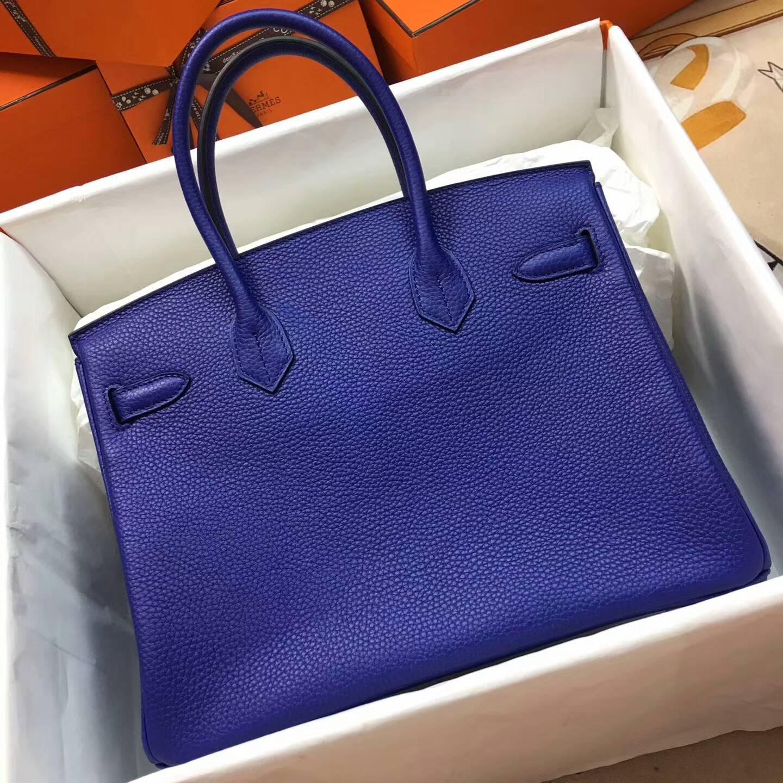 爱马仕铂金包 Birkim 30cm Clemence 法国原产Tc皮 T7 Blue Htdra 电光蓝 金扣