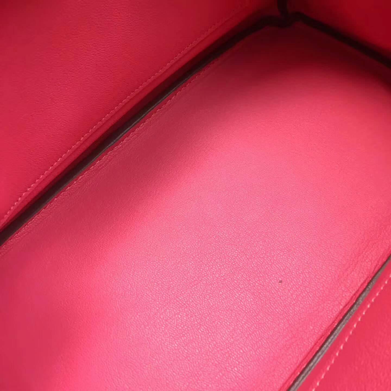 爱马仕铂金包 Birkim 30cm Clemence 法国原产Tc皮 8W Rose Azalee 唇膏粉 银扣