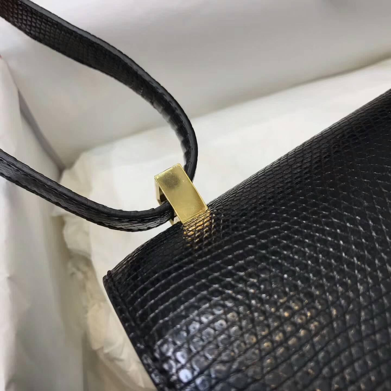 爱马仕包包批发 Constance24CM空姐包 CC89 Nior 黑色 金扣 精湛的工艺