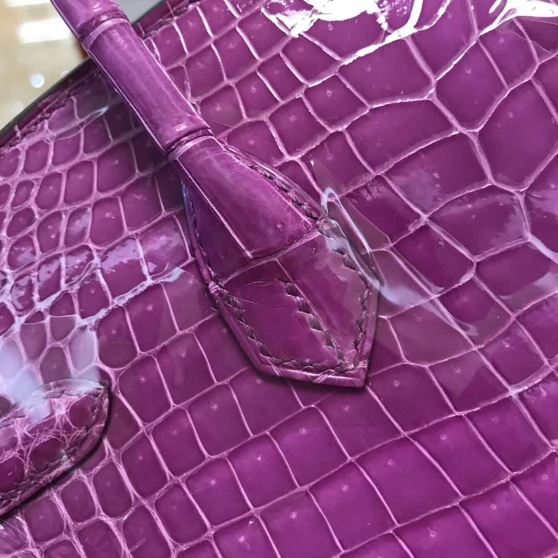 广州爱马仕包包批发 铂金包25Birkin 亮光Shiny Nilo Crocodile尼罗鳄 水晶紫 金扣