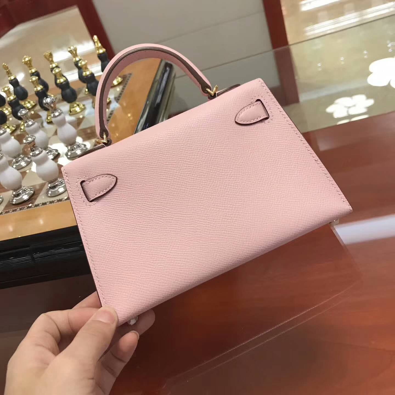 Hermes包包 爱马仕Mini Kelly二代 3Q Rose Sakura 芭比粉 金扣