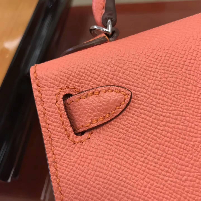 Hermes包包 爱马仕Mini Kelly二代 L5 Crevette龙虾粉 银扣