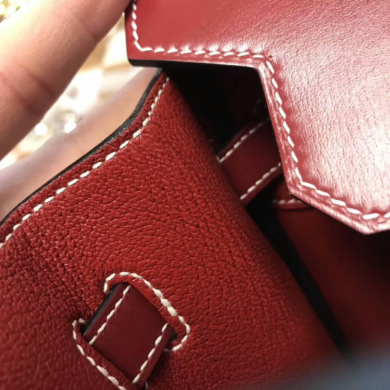 爱马仕包包批发 30Birkin 法国顶级御用Box皮 纯手缝完美工艺 宝石红 金扣