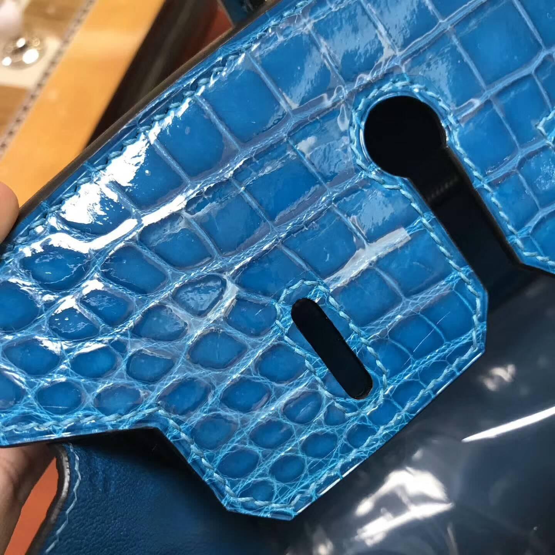广州爱马仕包包批发 铂金包25Birkin 亮光Shiny Nilo Crocodile尼罗鳄 B3 Zanzibar 坦桑尼亚蓝 银扣
