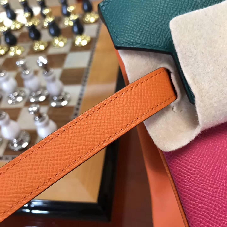 广州爱马仕包包批发 铂金包30Birkin 原厂Epsom皮 E5玫红拼Z6孔雀绿拼橙色 限量色 金扣
