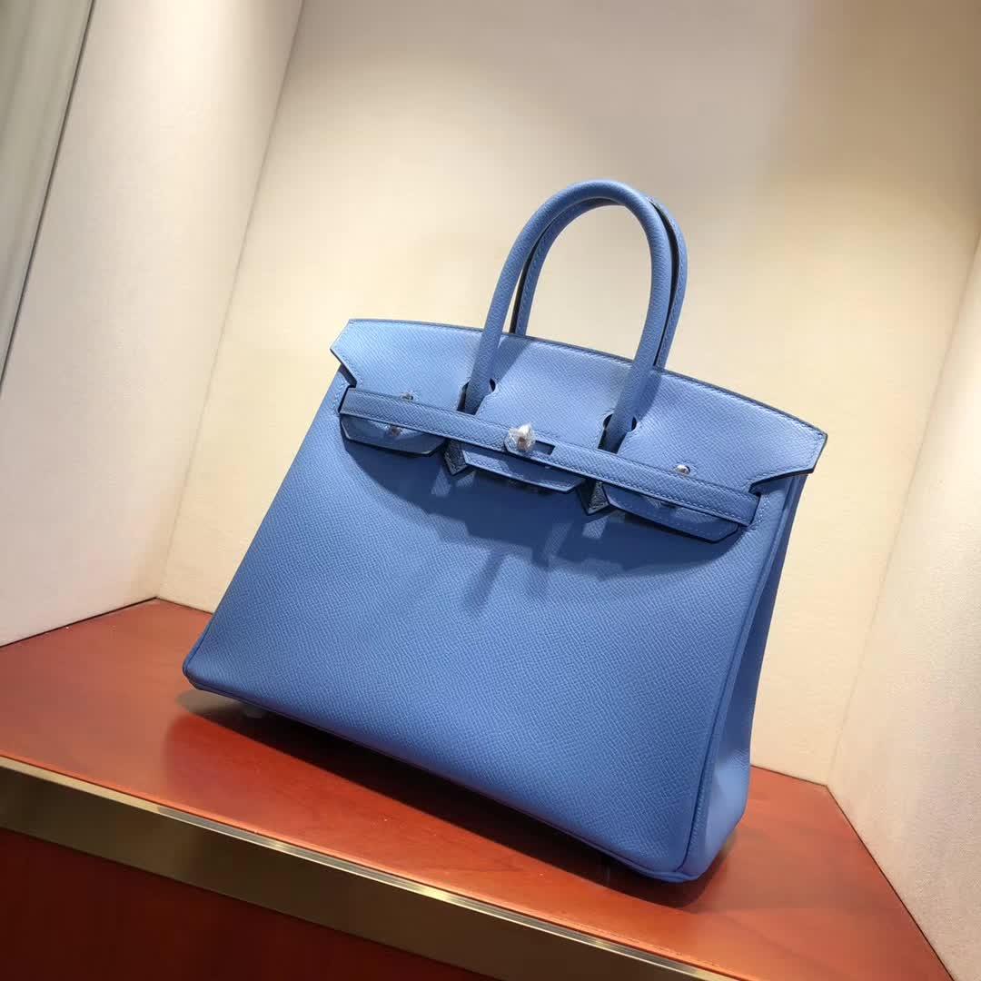爱马仕铂金包 Birkin25cm Epsom 2T Blue Paradis 天堂蓝 银扣 顶级工艺 纯缝蜡线 小可爱 很能装