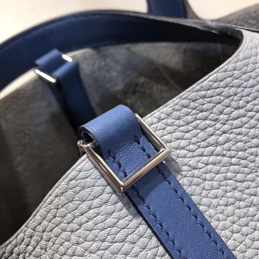 爱马仕菜篮子 Picotin Lock 18cm TC拼Swift 8U Glacierw 冰川灰拼 R2 Blue Agate 玛瑙蓝 银扣 顶级工艺 纯手缝蜡线