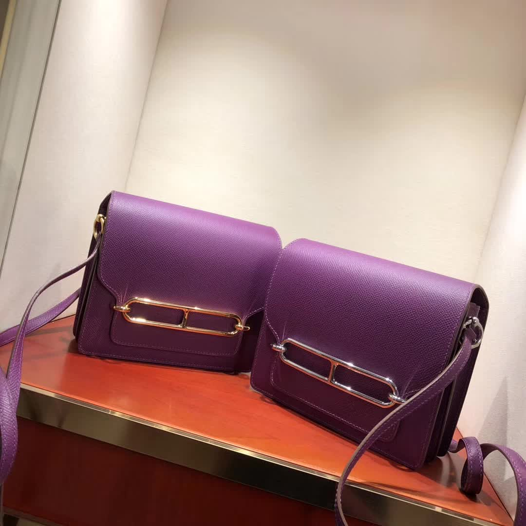 爱马仕猪鼻子包 Roulis 19cm Epsom P9 Anemonb 海葵紫 金扣 手缝蜡线顶级工艺