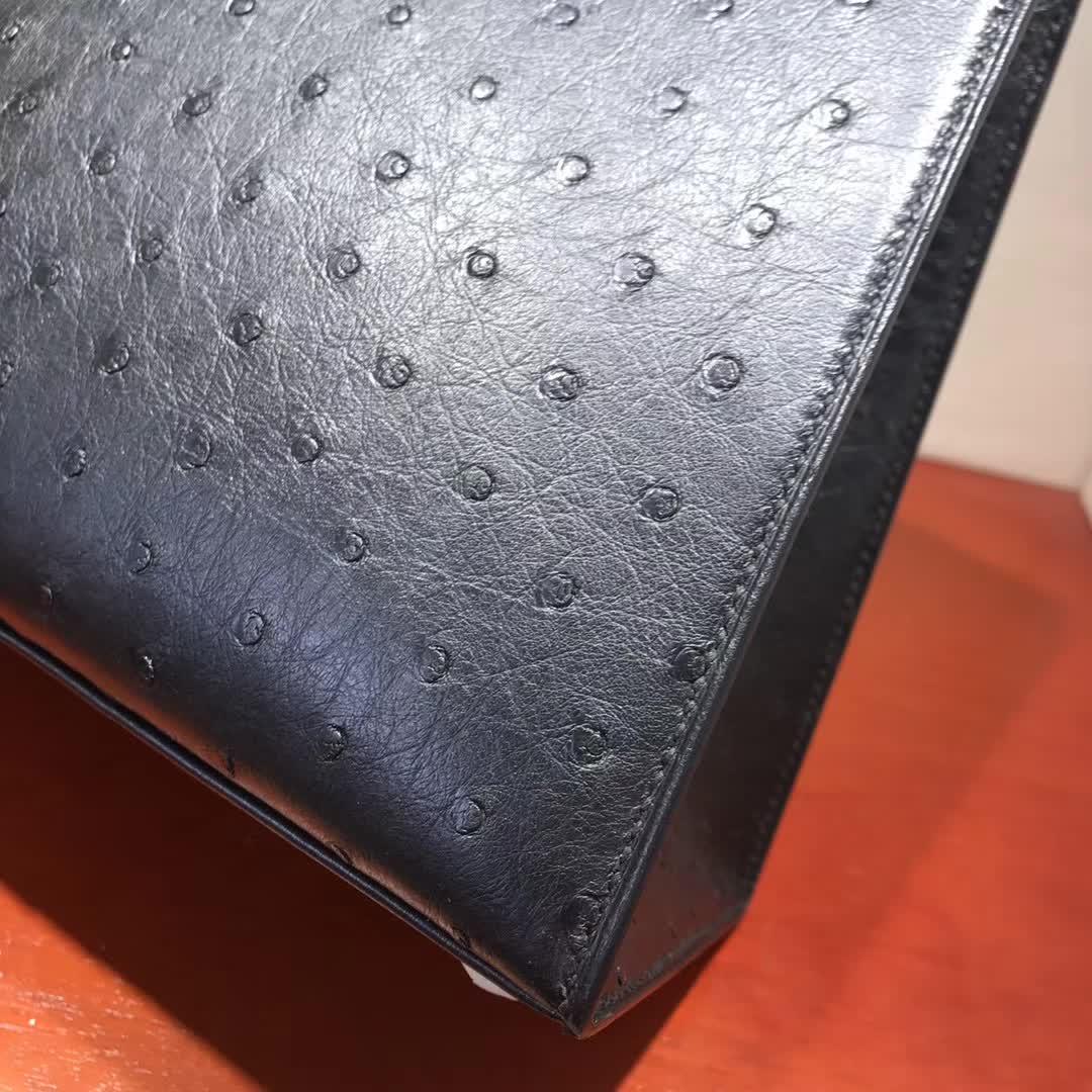 广州爱马仕包包 Hermes Kelly 28cm Ostrich Leather 89 Noir 黑色 金扣 纯手缝蜡线