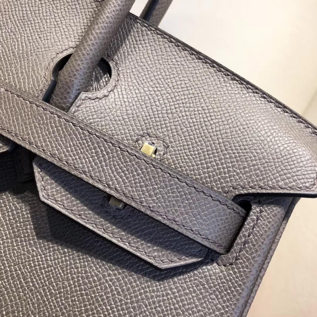 Hermes包包 爱马仕铂金包 Birkin 30cm Epsom 8F Etain 锡器灰 金扣 手缝蜡线顶级工艺