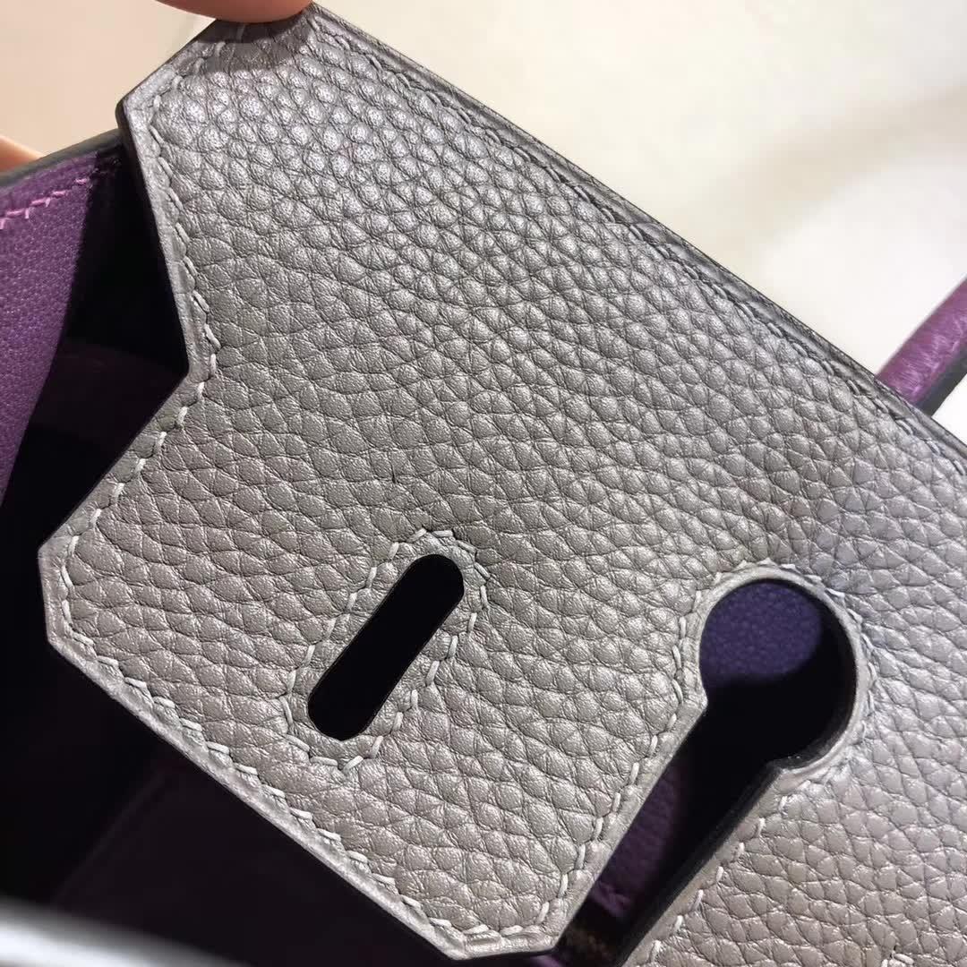 Hermes包包 爱马仕铂金包 Birkin 25cm Tc 8F Etain 锡器灰拼 P9 Anemonb 海葵紫 金扣