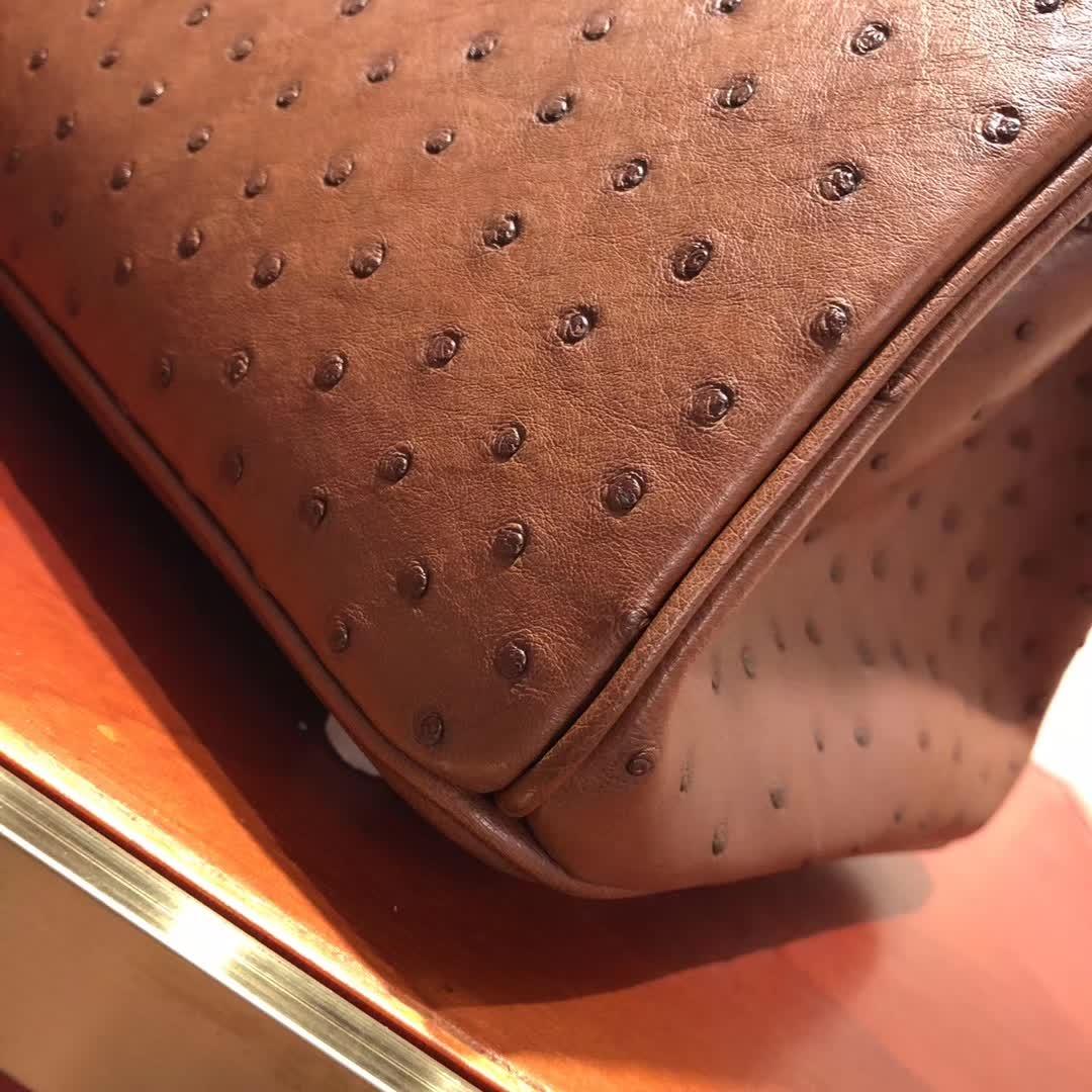 爱马仕铂金包 Birkin30cm Ostrich Leather 6C Cuiuvr 古铜色 金扣 顶级工艺 纯缝蜡线