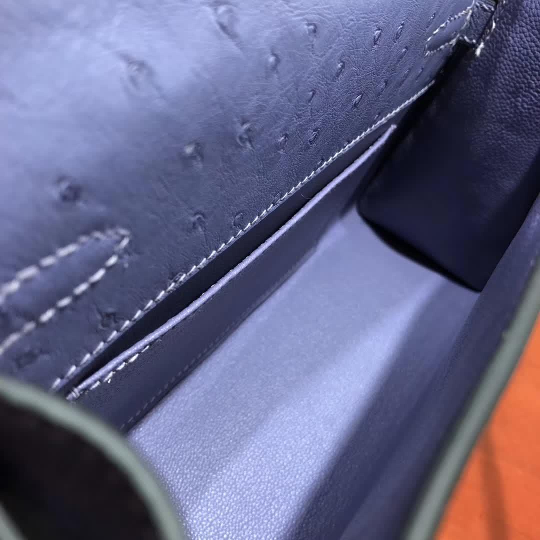 爱马仕包包 Kelly Pochette 22cm Ostrich Leather 5H 薰衣草紫 金扣 纯手缝蜡线