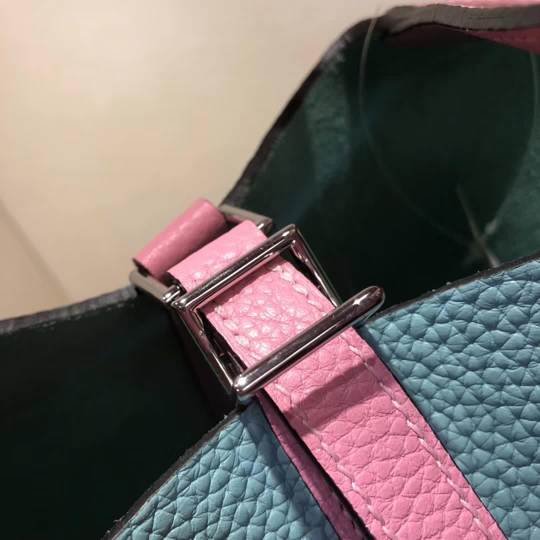 爱马仕菜篮子 Picotin Lock 18cm TC拼Swift 3P Blue Atoll 马卡龙蓝拼 5P Pink 樱花粉 银扣 顶级工艺 纯手缝蜡线