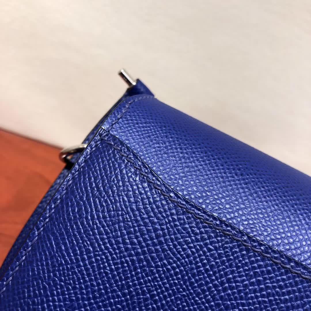 爱马仕猪鼻子包 Roulis 19cm Epsom T7 Blue Htdra 电光蓝 银扣 手缝蜡线顶级工艺