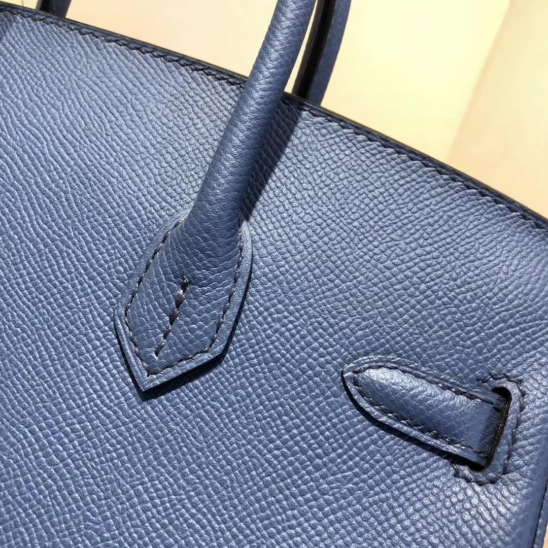 爱马仕铂金包 Birkin25cm Epsom R2 Blue Agate 玛瑙蓝 金扣 顶级工艺 纯缝蜡线 小可爱 很能装