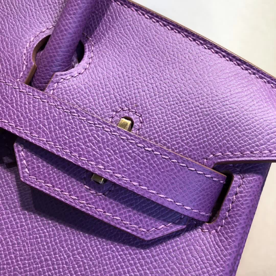 Hermes包包 爱马仕铂金包 Birkin 30cm Epsom P9 Anemonb 海葵紫 金扣 手缝蜡线顶级工艺
