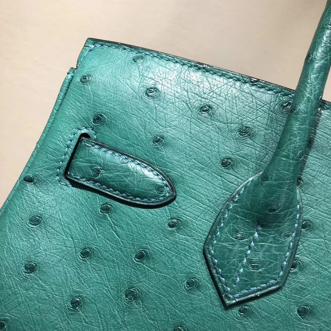 爱马仕铂金包 Birkin30cm Ostrich Leather Z6 Malachite 孔雀绿 银扣 顶级工艺 纯缝蜡线