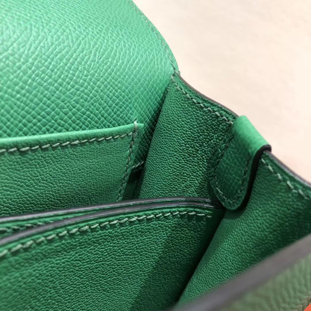 爱马仕猪鼻子包 Roulis 19cm Epsom 1K Bamdou 竹子绿 金扣 手缝蜡线顶级工艺