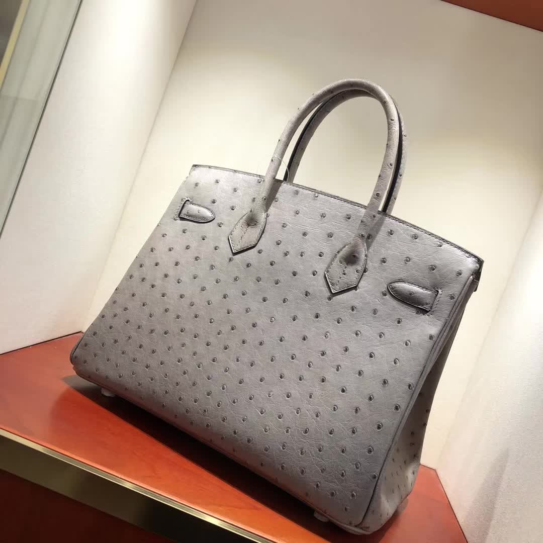 爱马仕铂金包 Birkin30cm Ostrich Leather 19 Mousse 慕斯灰 金扣 顶级工艺 纯缝蜡线