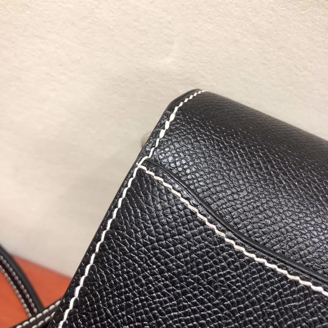 爱马仕猪鼻子包 Roulis 19cm Epsom 89 Noir 黑色白线 银扣 手缝蜡线顶级工艺