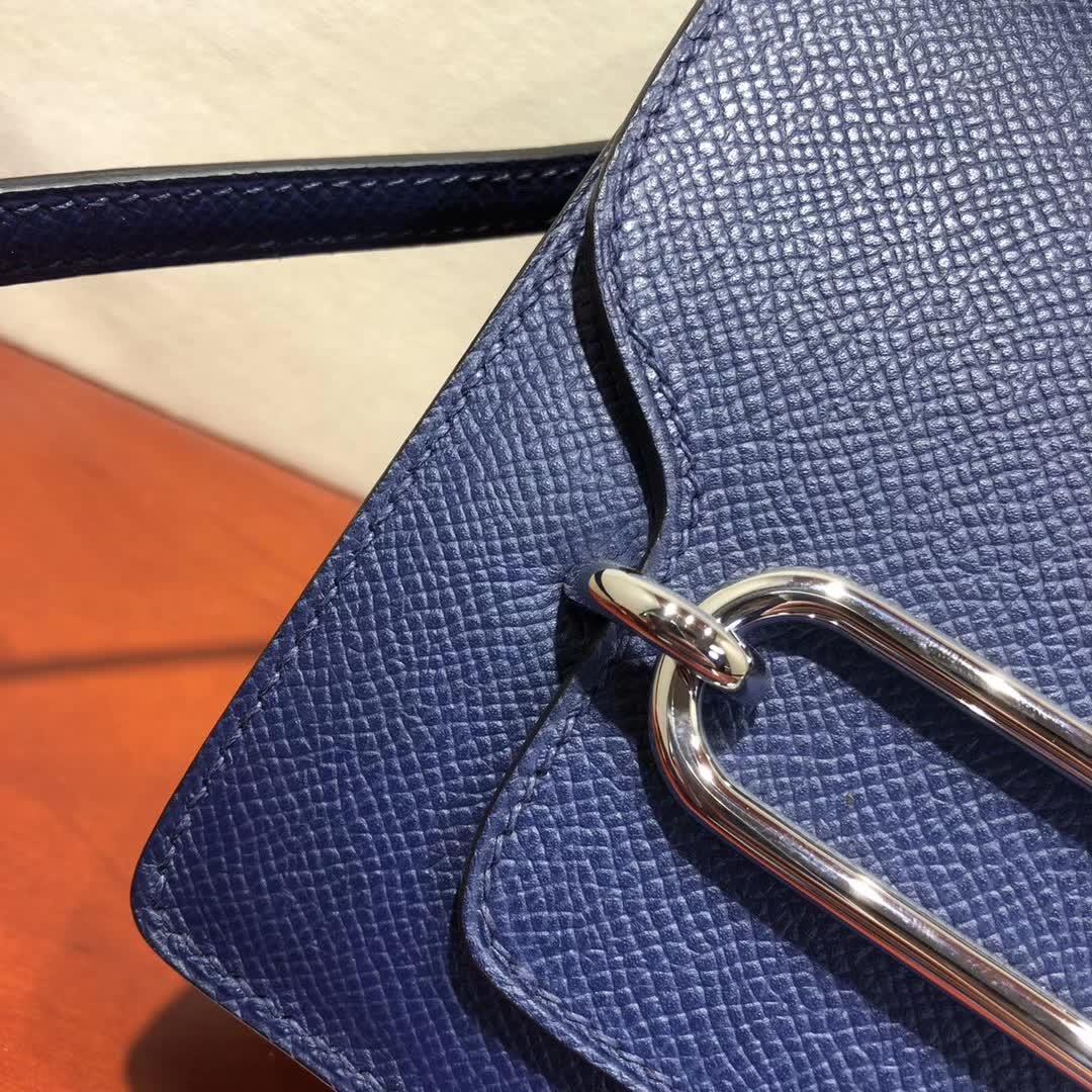 爱马仕猪鼻子包 Roulis 19cm Epsom 73 Blue Saphir 宝石蓝 银扣 手缝蜡线顶级工艺