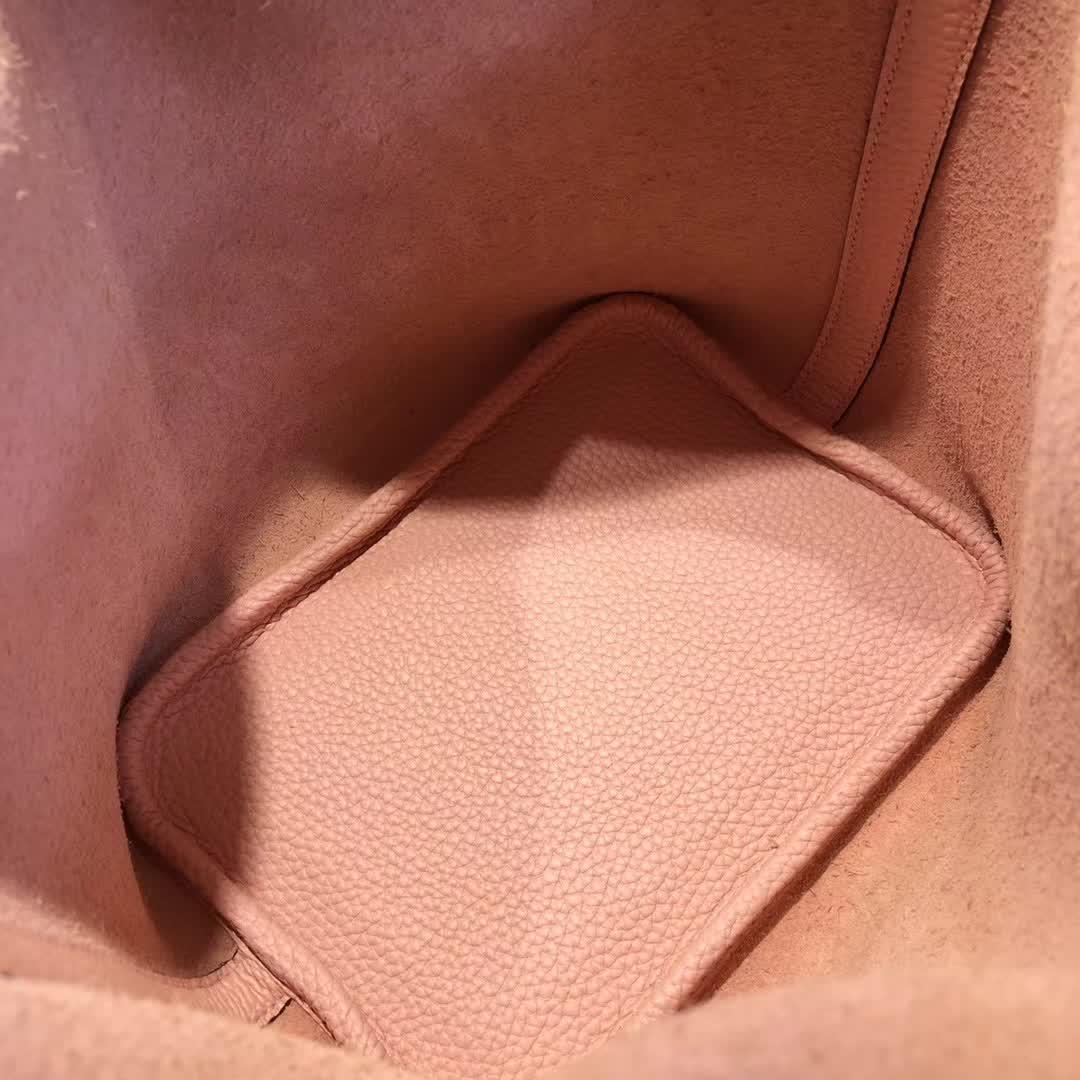 爱马仕菜篮子 Picotin Lock 18cm TC 3Q Rose Sakura 芭比粉 银扣 顶级工艺 纯手缝蜡线