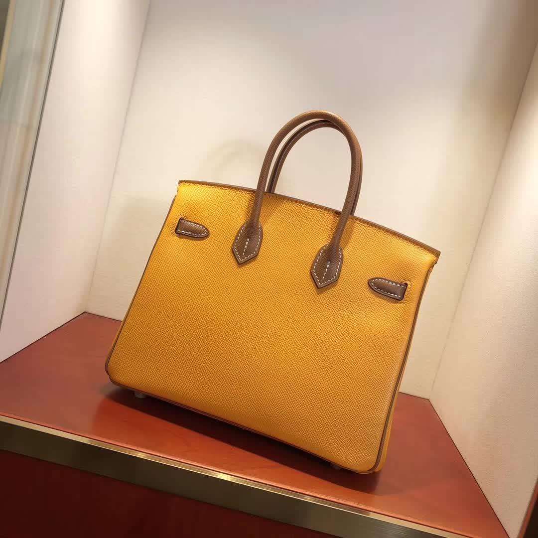 Hermes包包 爱马仕铂金包 Birkin 25cm Epsom 9V Jaune Dor 太阳黄拼 37 Gold 金棕 金扣