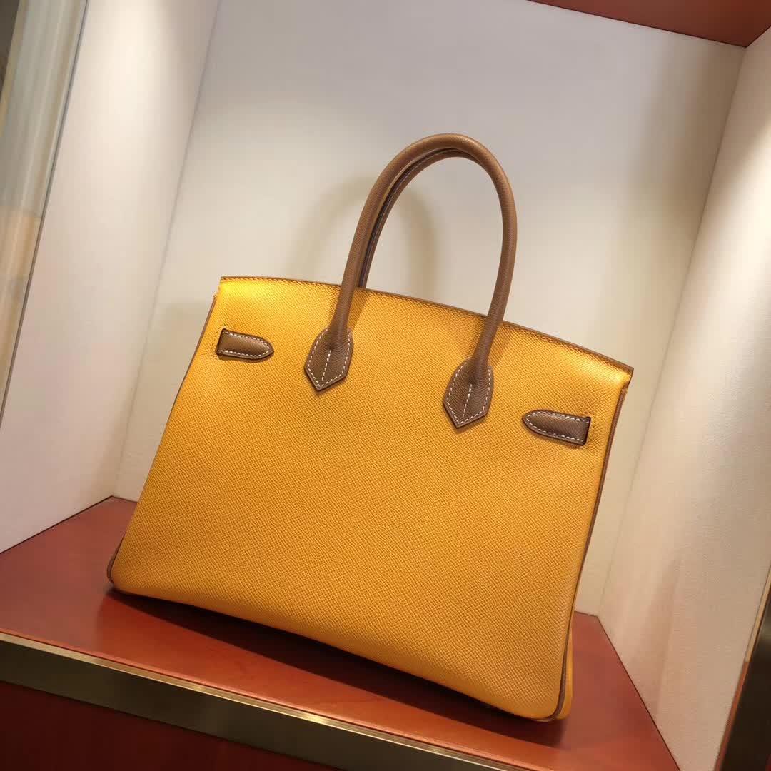 Hermes包包 爱马仕铂金包 Birkin 30cm 9V Jaune Dor 太阳黄拼 37 Gold 金棕 金扣