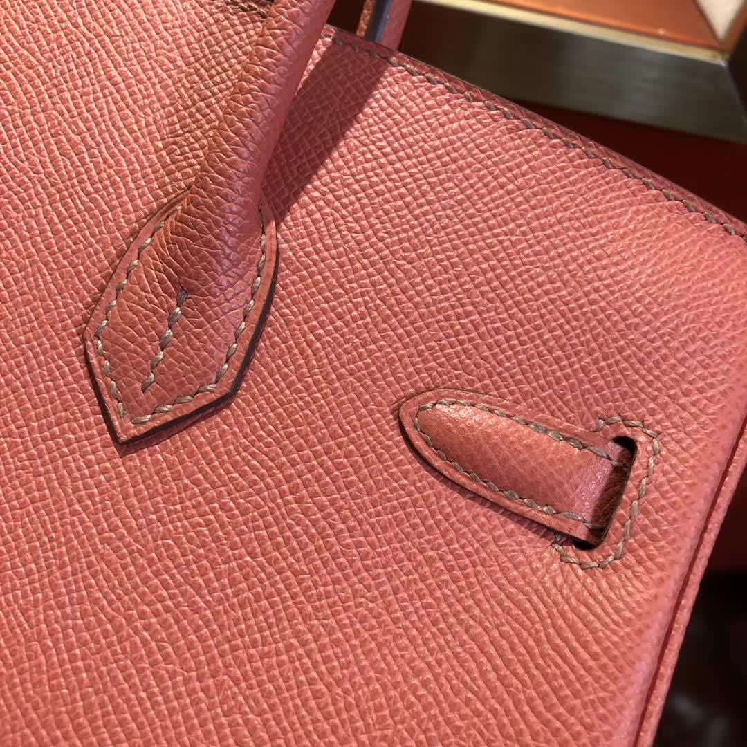 爱马仕铂金包 Birkin25cm Epsom L5 Crevette 龙虾粉 银扣 顶级工艺 纯缝蜡线 小可爱 很能装