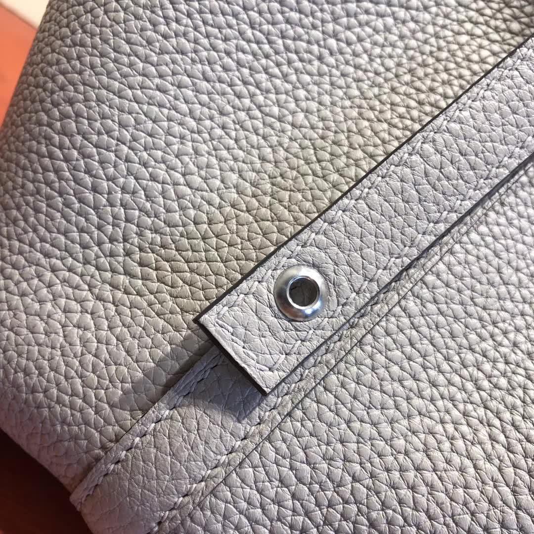 爱马仕菜篮子 Picotin Lock 18cm TC 1F Argile 钻石灰 银扣 顶级工艺 纯手缝蜡线