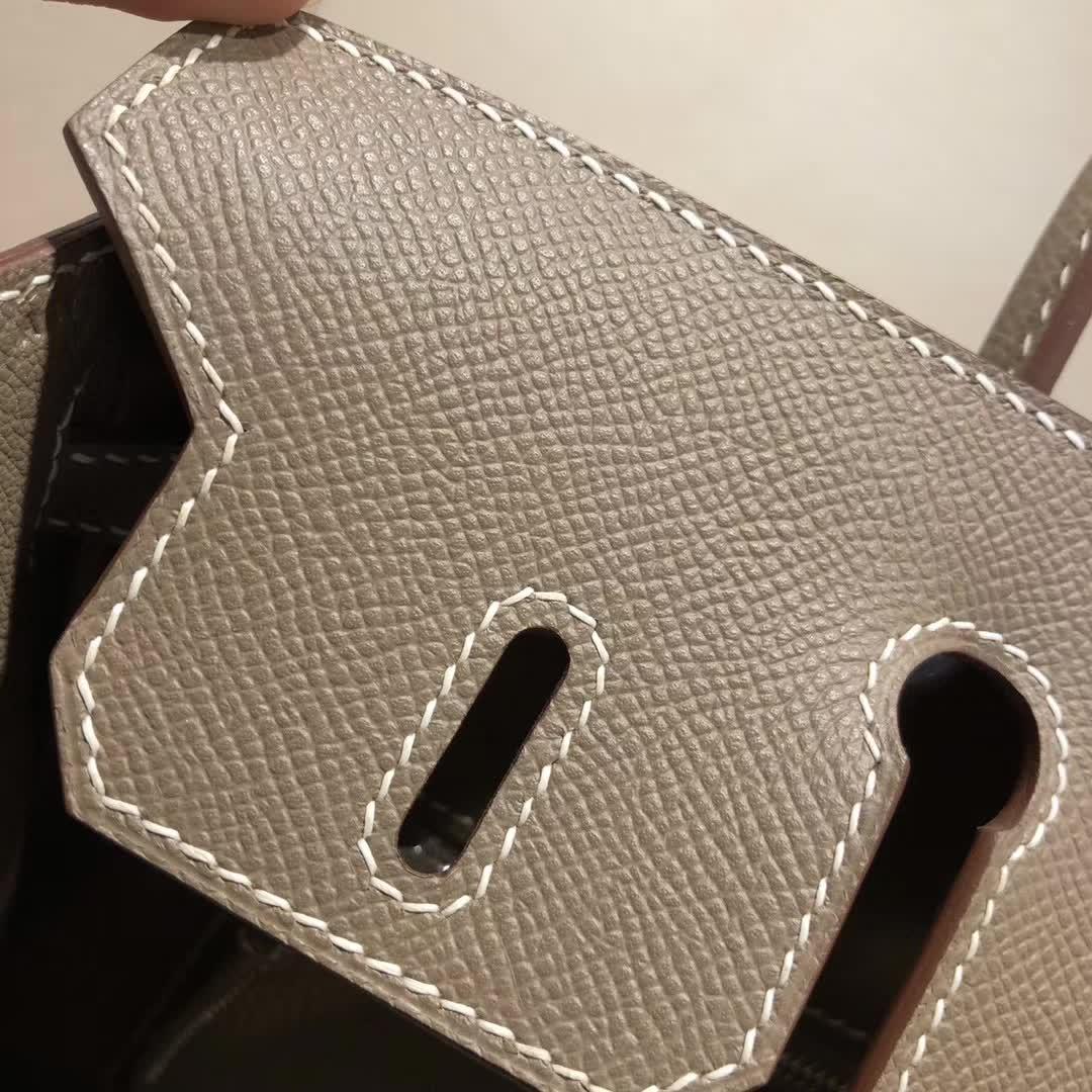 爱马仕铂金包 Birkin25cm Epsom 18 Etoupe 大象灰 银扣 顶级工艺 纯缝蜡线 小可爱 很能装