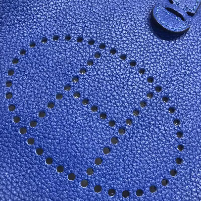 爱马仕包包批发 Evelyne 17cm Tc T7 Blue Htdra 电光蓝 银扣 顶级工艺 迷你号超级可爱