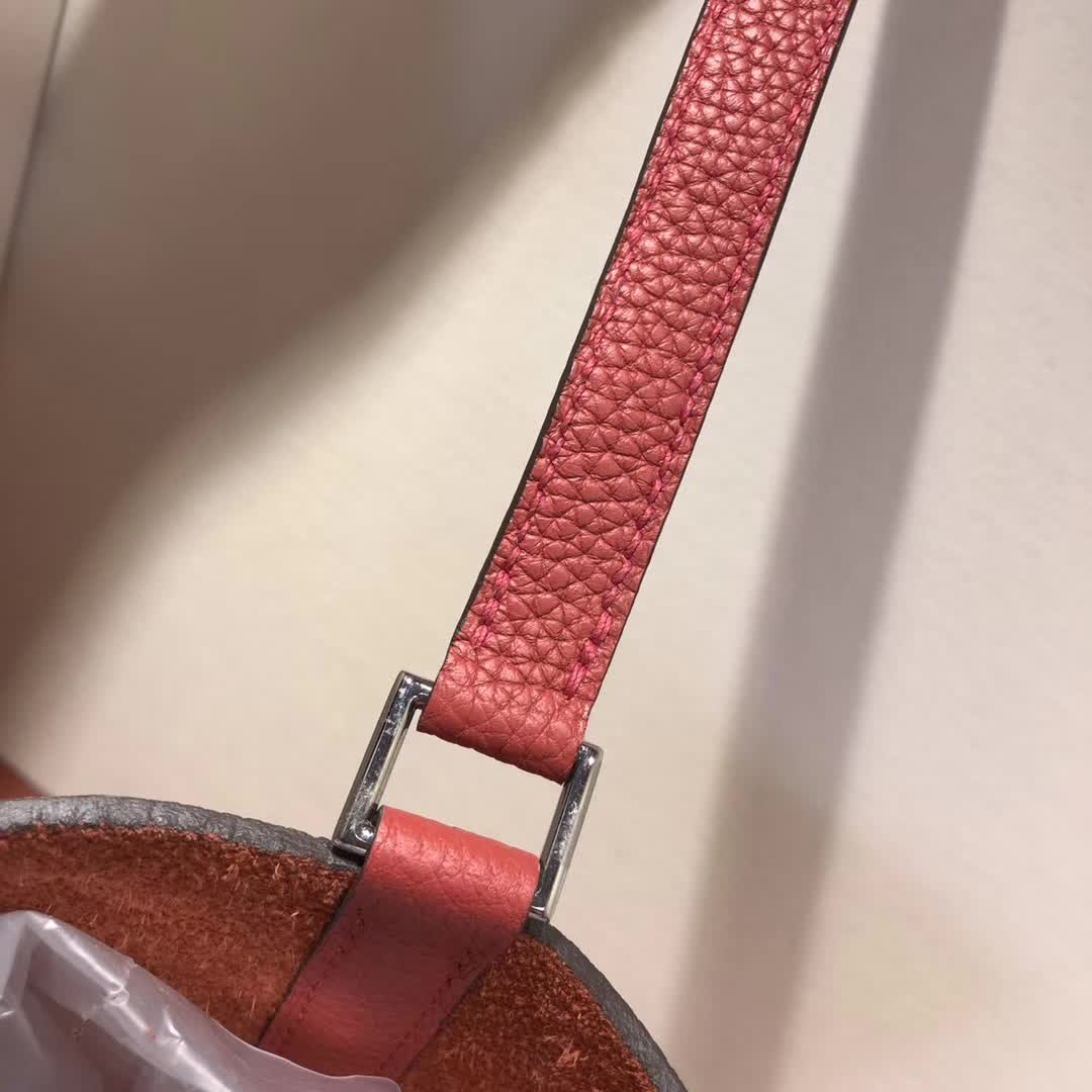 爱马仕菜篮子 Picotin Lock 18cm TC Q5 Rouge Casaqbe 中国红 银扣 顶级工艺 纯手缝蜡线