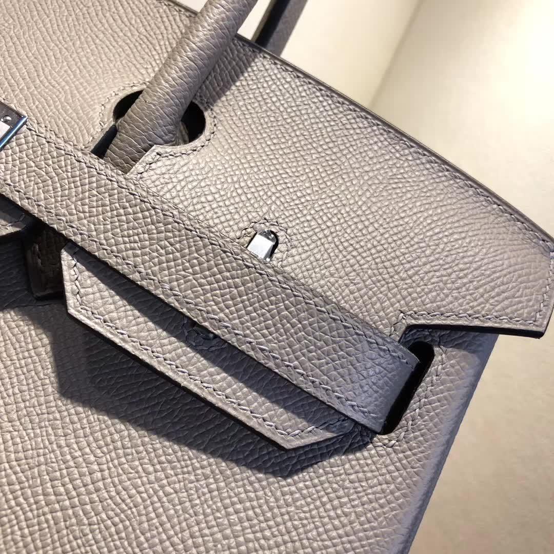 Hermes包包 爱马仕铂金包 Birkin 30cm Epsom M8 Gris Asphalte 沥青灰 公路灰 银扣 手缝蜡线顶级工艺