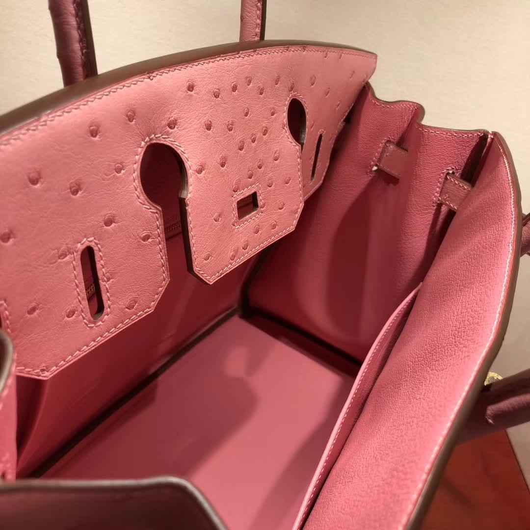 爱马仕铂金包 Birkin30cm Ostrich Leather 1Q Rose Conpetti 奶昔粉 金扣 顶级工艺 纯缝蜡线