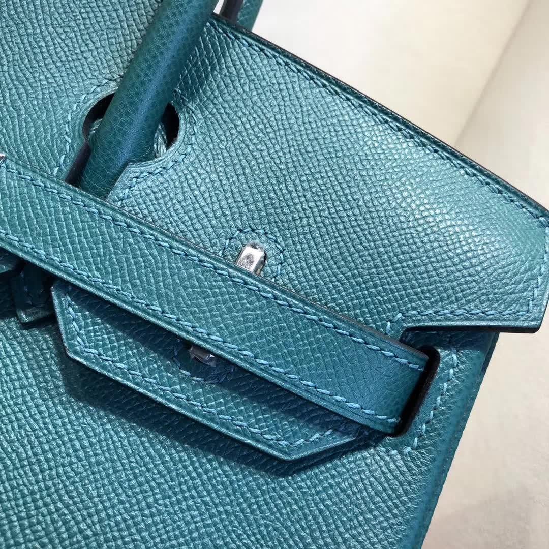 Hermes包包 爱马仕铂金包 Birkin 30cm Epsom Z6 Malachite 孔雀绿 银扣 手缝蜡线顶级工艺