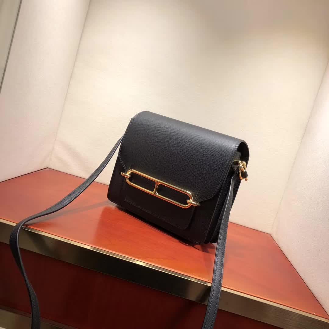 爱马仕猪鼻子包 Roulis 19cm Epsom 89 Noir 黑色 金扣 手缝蜡线顶级工艺