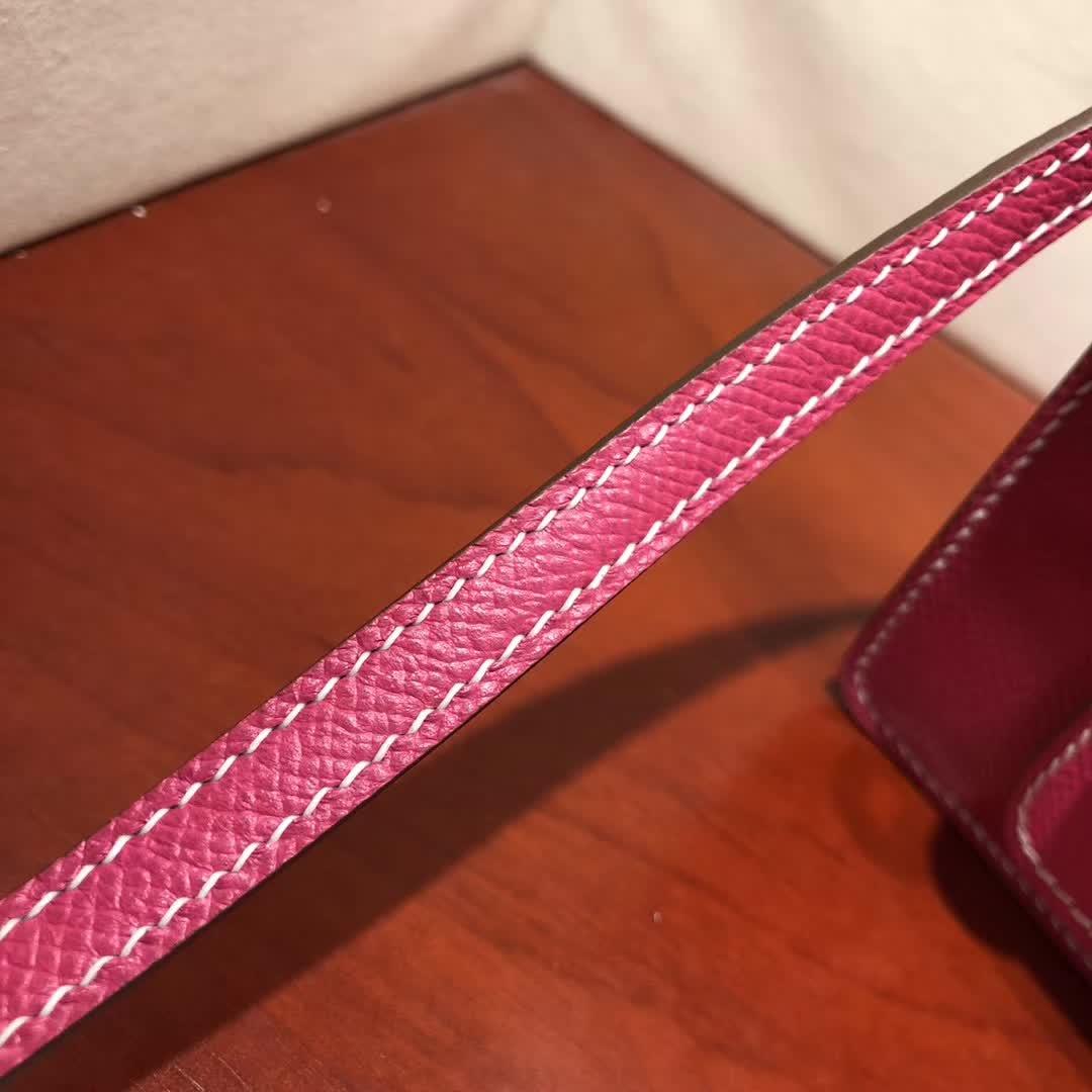 爱马仕猪鼻子包 Roulis 19cm Epsom E5 Rose Tyrien 玫红 金扣 手缝蜡线顶级工艺