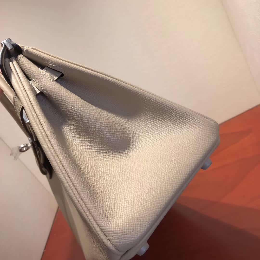 爱马仕铂金包 Birkin25cm Epsom S2 Trench 风衣灰 银扣 顶级工艺 纯缝蜡线 小可爱 很能装