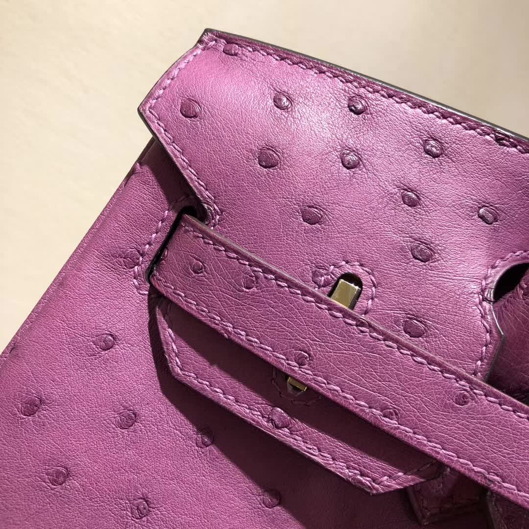 爱马仕铂金包 Birkin30cm Ostrich Leather P9 Anemonb 海葵紫 金扣 顶级工艺 纯缝蜡线