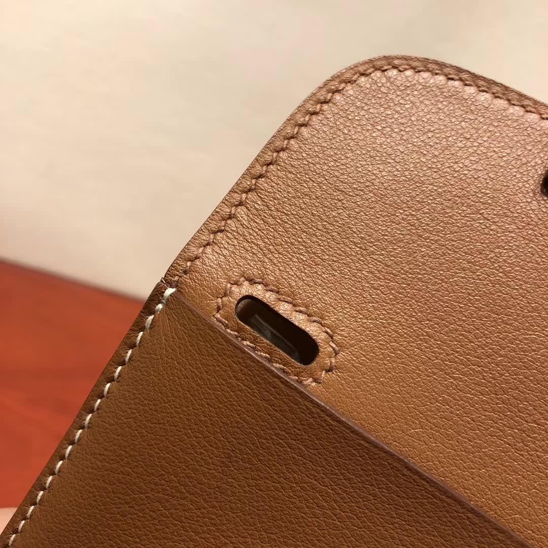 爱马仕包包批发 Halzan Mini 22cm Swift 37 Gold 金棕 银扣 手缝蜡线