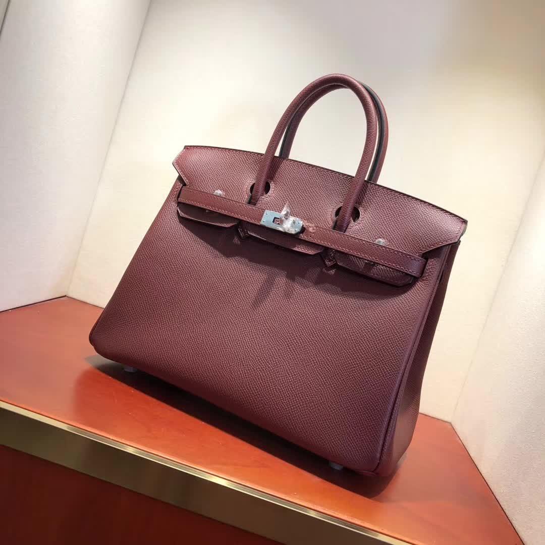 爱马仕铂金包 Birkin25cm Epsom 57 Bordeaux 波尔多酒红 银扣 顶级工艺 纯缝蜡线 小可爱 很能装