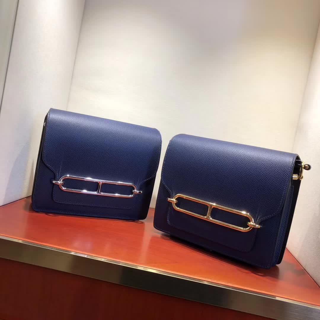 爱马仕猪鼻子包 Roulis 19cm Epsom 73 Blue Saphir 宝石蓝 金扣 手缝蜡线顶级工艺